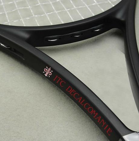 Decalcomanie per racchette da tennis personalizzate con nomi e loghi