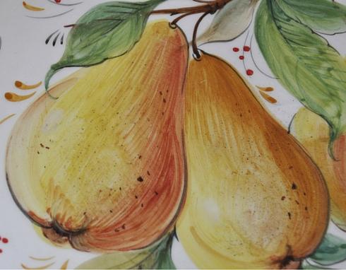 Decalcomania con decorazione con frutta pere gialle